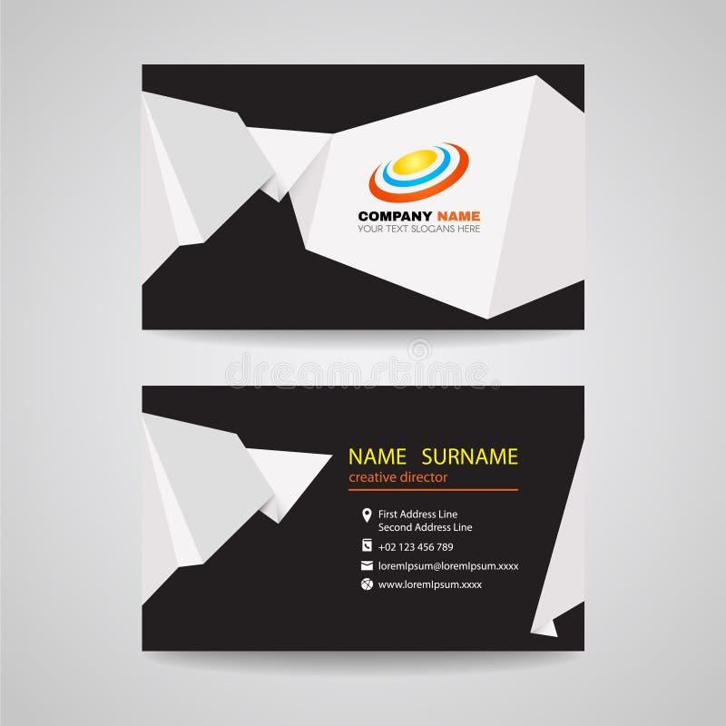 Diseño del vector de la tarjeta de visita - documento agudo blanco de la papiroflexia sobre fondo negro ilustración del vector