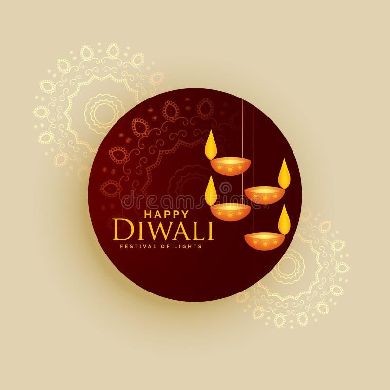Diseño del vector de la tarjeta de felicitación del día de fiesta de Diwali con las lámparas de la ejecución libre illustration