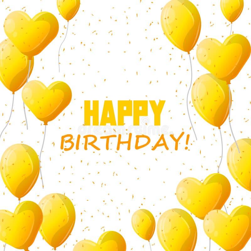 Diseño del vector de la tipografía del feliz cumpleaños para las tarjetas y el cartel de felicitación con el globo amarillo ilustración del vector