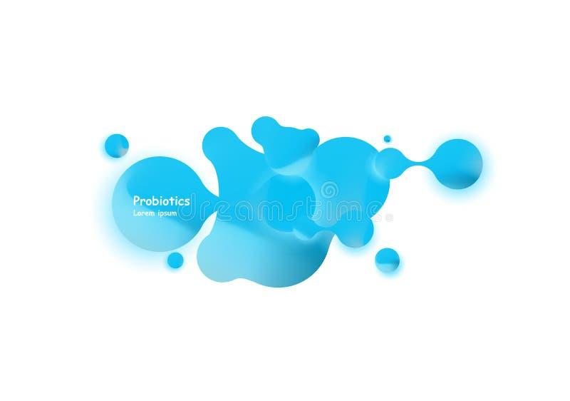 Diseño del vector de las bacterias de Probiotics Concepto de diseño con las bacterias probióticas del lactobacilo Diseño de la pl libre illustration