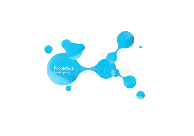 Diseño del vector de las bacterias de Probiotics Concepto de diseño con las bacterias probióticas del lactobacilo Diseño de la pl stock de ilustración