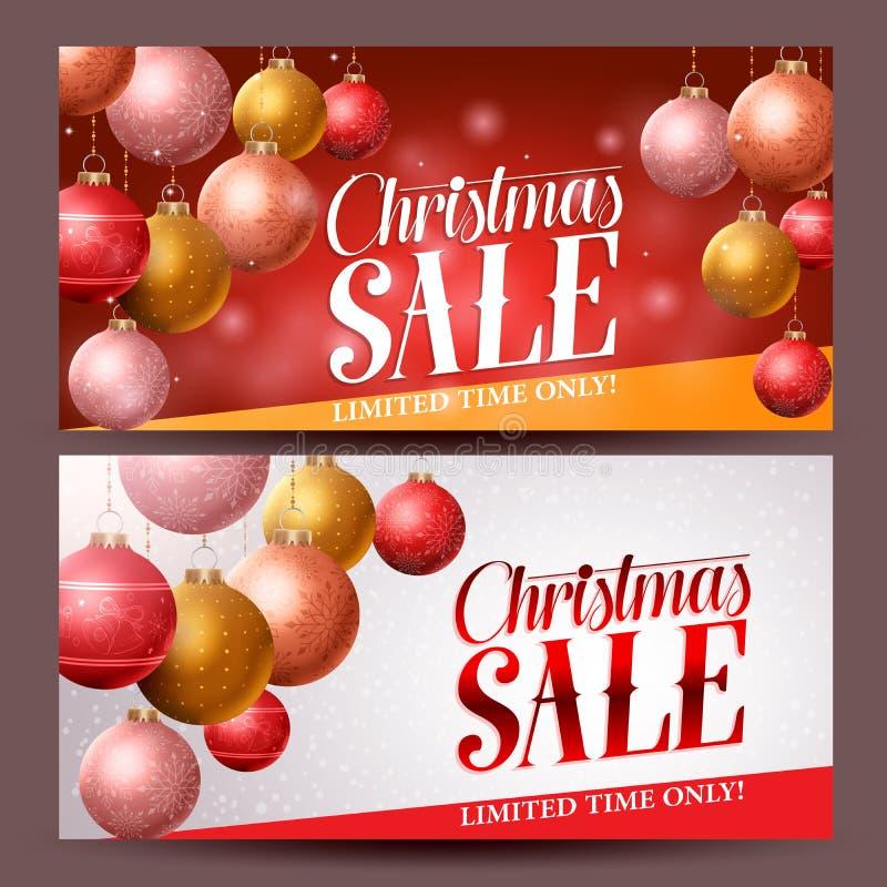 Diseño del vector de las banderas de la venta de la Navidad con los elementos de las bolas de la Navidad libre illustration