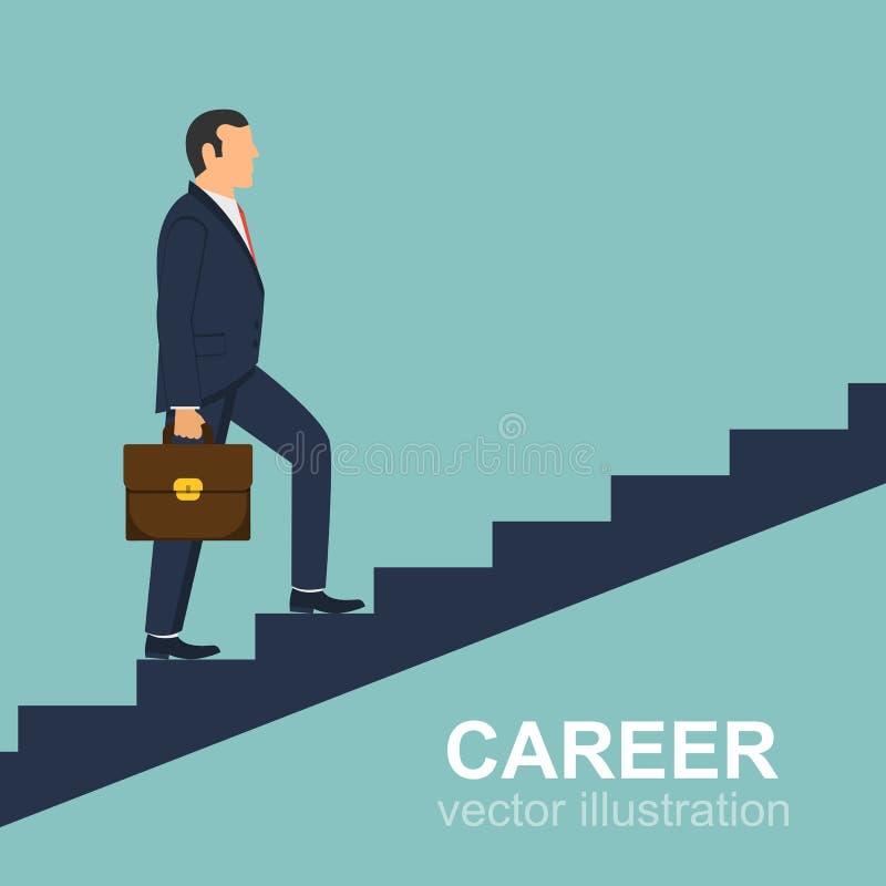 Diseño del vector de las escaleras del hombre de negocios que sube imagenes de archivo
