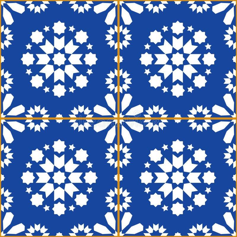 Diseño del vector de las tejas del remiendo, modelo inconsútil geométrico Azulejos, diseño portugués de la teja de los azules mar ilustración del vector