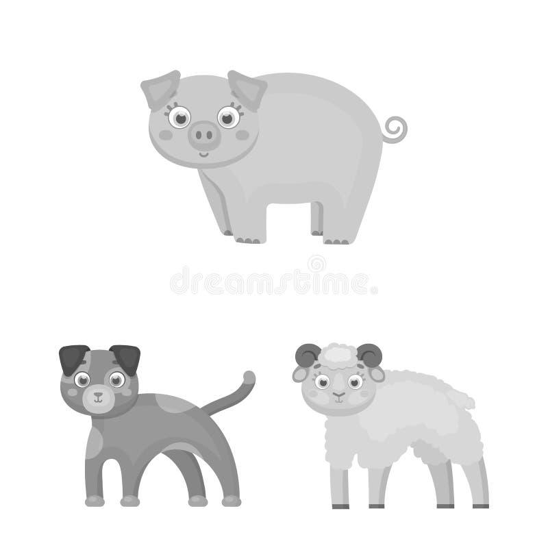 Diseño del vector de logotipo del animal y del hábitat Colección de ejemplo del vector de la acción del animal y de granja libre illustration