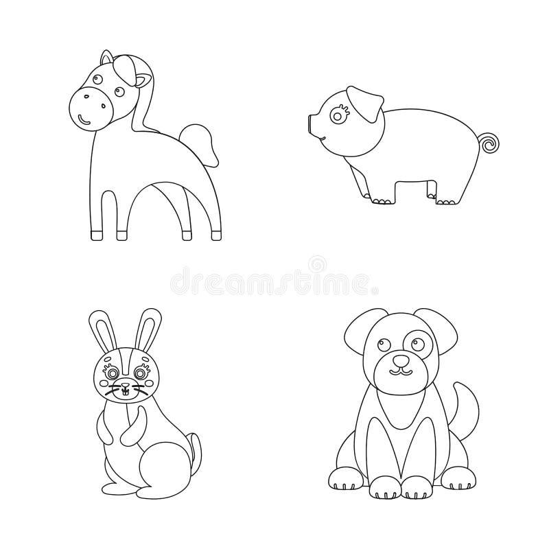 Diseño del vector de logotipo del animal y del hábitat Colección de ejemplo del vector de la acción del animal y de granja stock de ilustración
