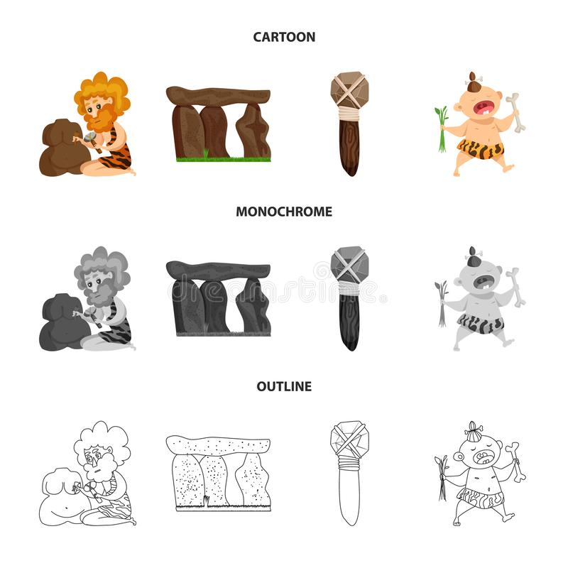 Diseño del vector de logotipo de la evolución y de la prehistoria Fije del símbolo común de la evolución y del desarrollo para la ilustración del vector