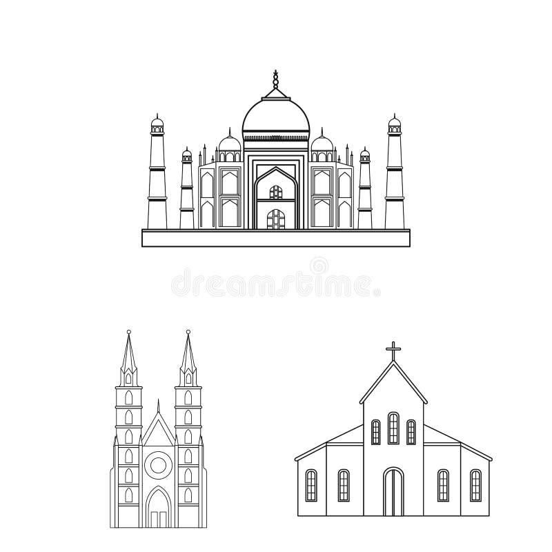 Diseño del vector de logotipo de la religión y de la boda Fije de la religión y del símbolo común de la casa para la web stock de ilustración
