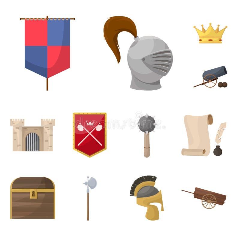 Diseño del vector de logotipo medieval y de la historia Fije del icono medieval y del torneo del vector para la acción libre illustration
