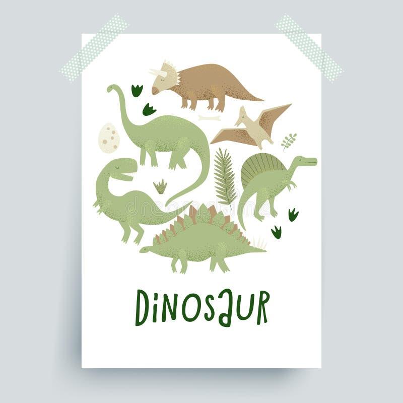 Diseño del vector de los dinosaurios, rex del tiranosaurio stock de ilustración