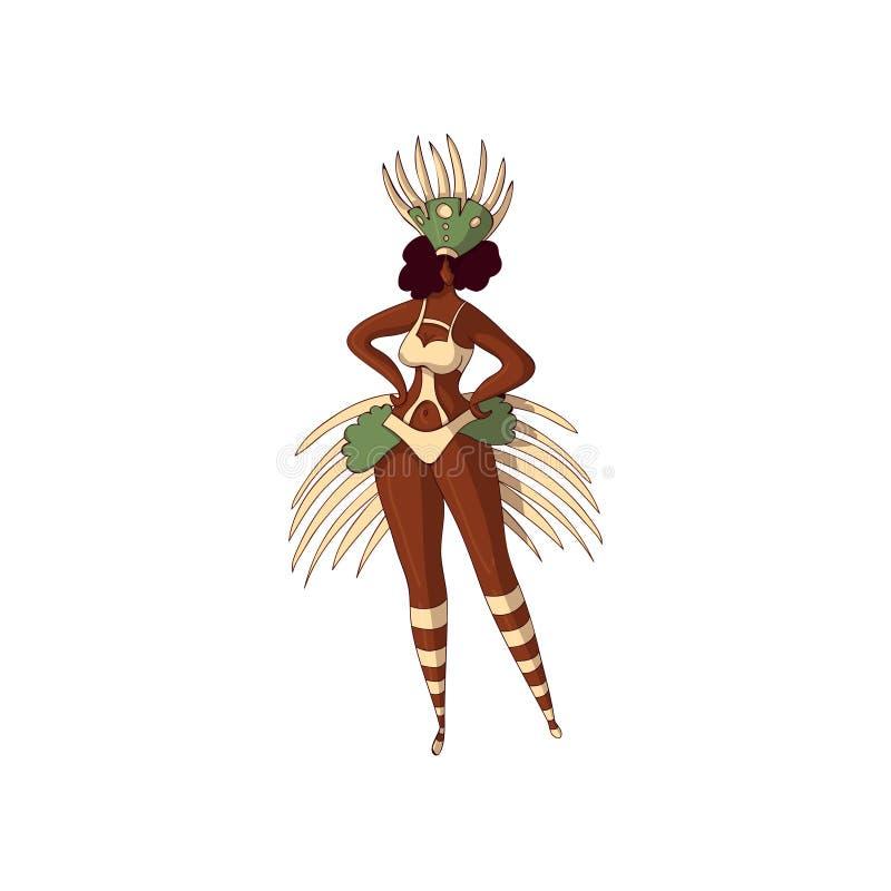 Diseño del vector de muchacha brasileña Mujer Latino joven en bikini y tocado con las plumas Carnaval 2008 de Río Samba Dancer ilustración del vector