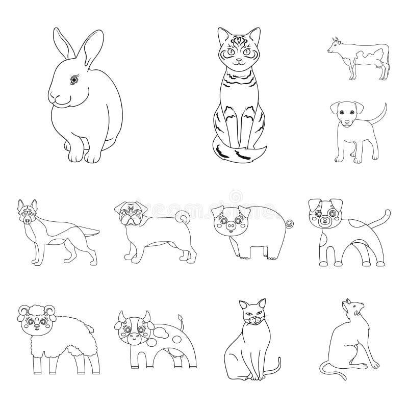 Diseño del vector de muestra del animal y del hábitat Colección de ejemplo del vector de la acción del animal y de granja ilustración del vector