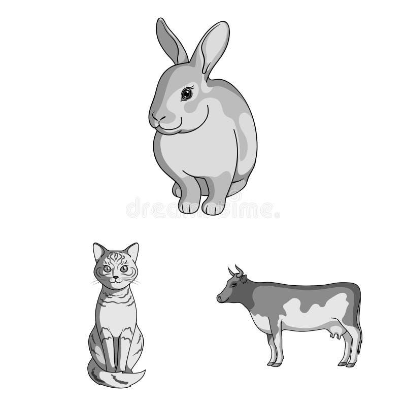 Diseño del vector de muestra del animal y del hábitat Fije del ejemplo del vector de la acción del animal y de granja stock de ilustración