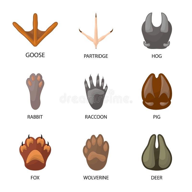 Diseño del vector de muestra del animal y de la impresión Colección de animal y de ejemplo del vector de la acción de la huella ilustración del vector