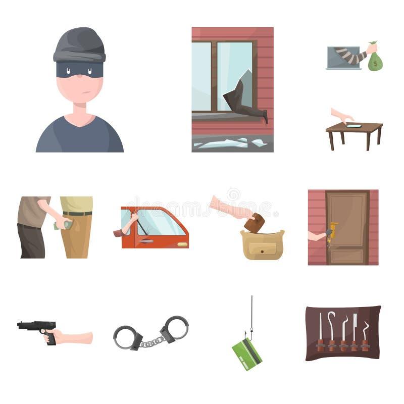 Diseño del vector de muestra criminal y de la policía Colección de criminal e icono del vector del robo para la acción libre illustration