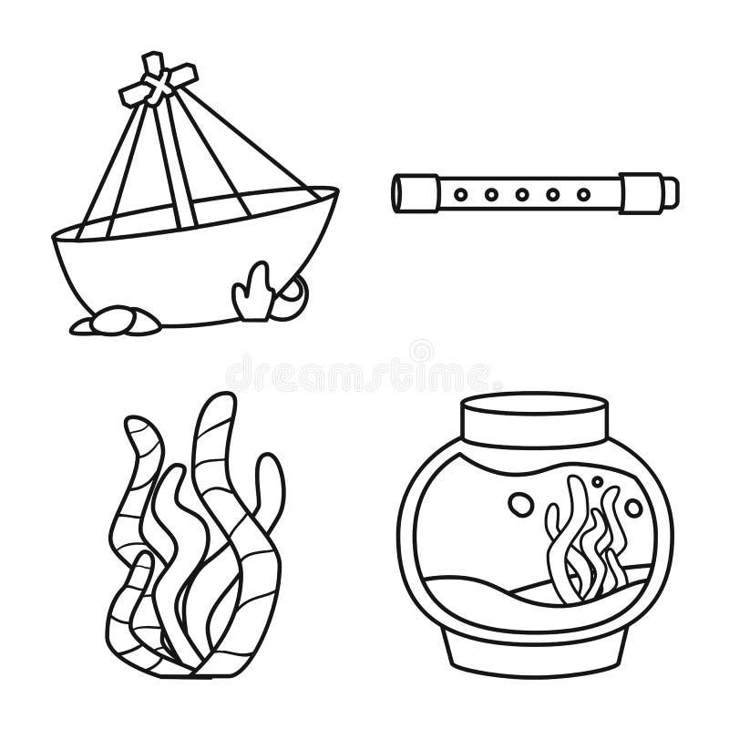 Diseño del vector de muestra del fishbowl y del accesorio Fije del símbolo común del fishbowl y del cuidado para la web libre illustration
