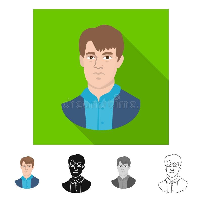 Diseño del vector de muestra del hombre y de la cara Colección de hombre e icono joven del vector para la acción stock de ilustración