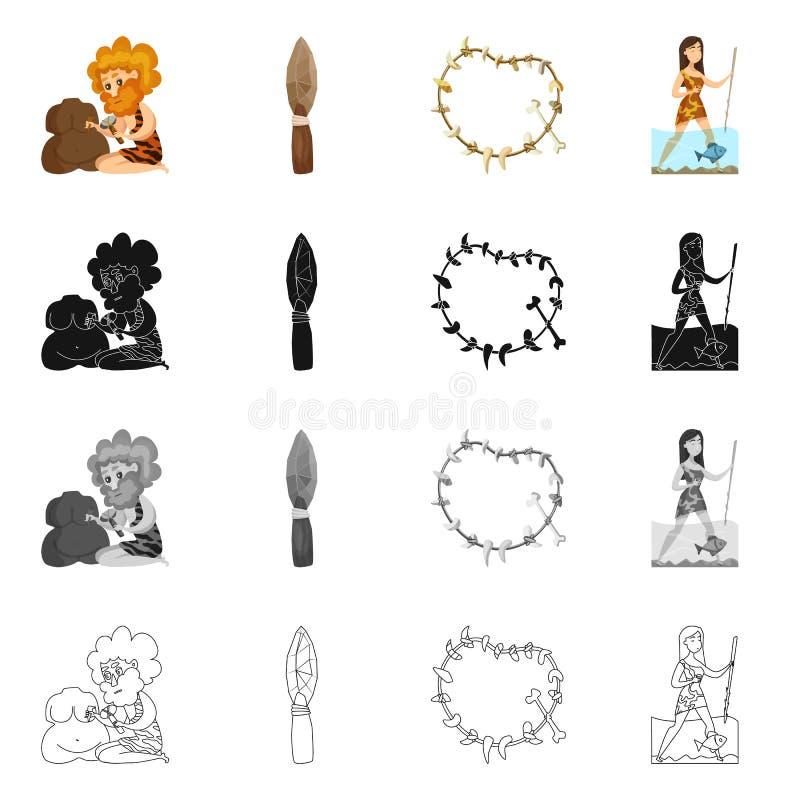 Diseño del vector de muestra de la evolución y de la prehistoria Colección de símbolo común de la evolución y del desarrollo para libre illustration