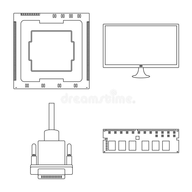 Diseño del vector de muestra de la PC y del componente Fije de la PC y del símbolo común de tecnología para la web ilustración del vector