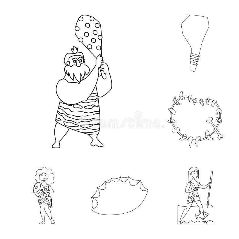 Diseño del vector de muestra del primitivo y de la arqueología Colección de símbolo común del primitivo y de la historia para la  ilustración del vector