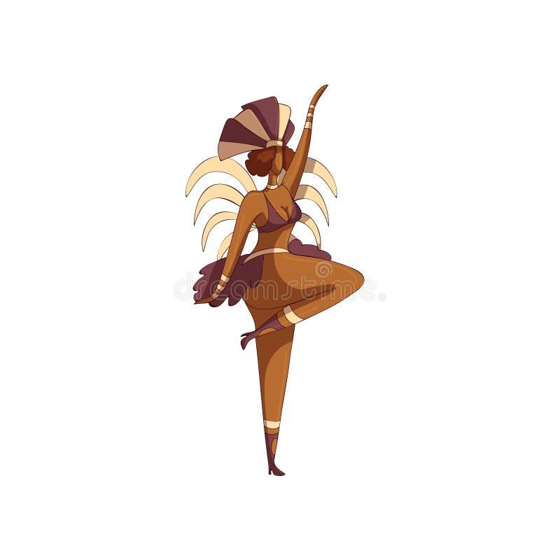 Diseño del vector de mujer en la acción de baile Bailarín brasileño de la samba Muchacha en bikini y tocado con las plumas stock de ilustración