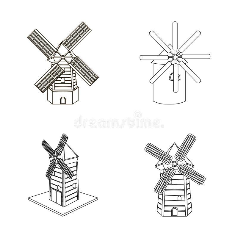 Diseño del vector de paisaje y de símbolo del pueblo Colección de paisaje y de ejemplo del vector de la acción de granja libre illustration