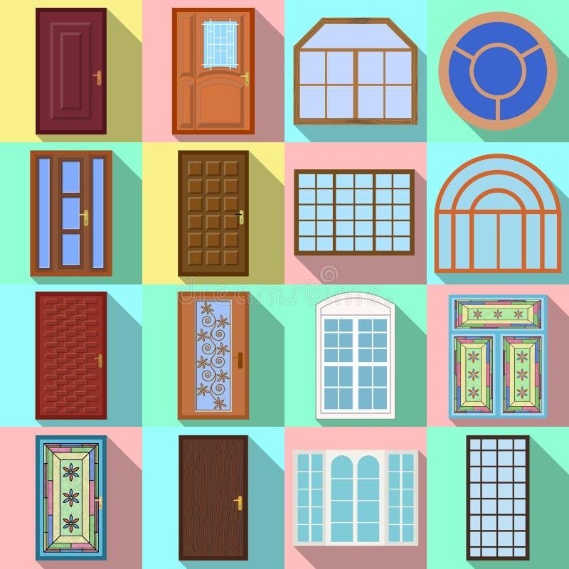 Diseño del vector de puerta y de logotipo delantero Colección de puerta e icono de madera del vector para la acción libre illustration