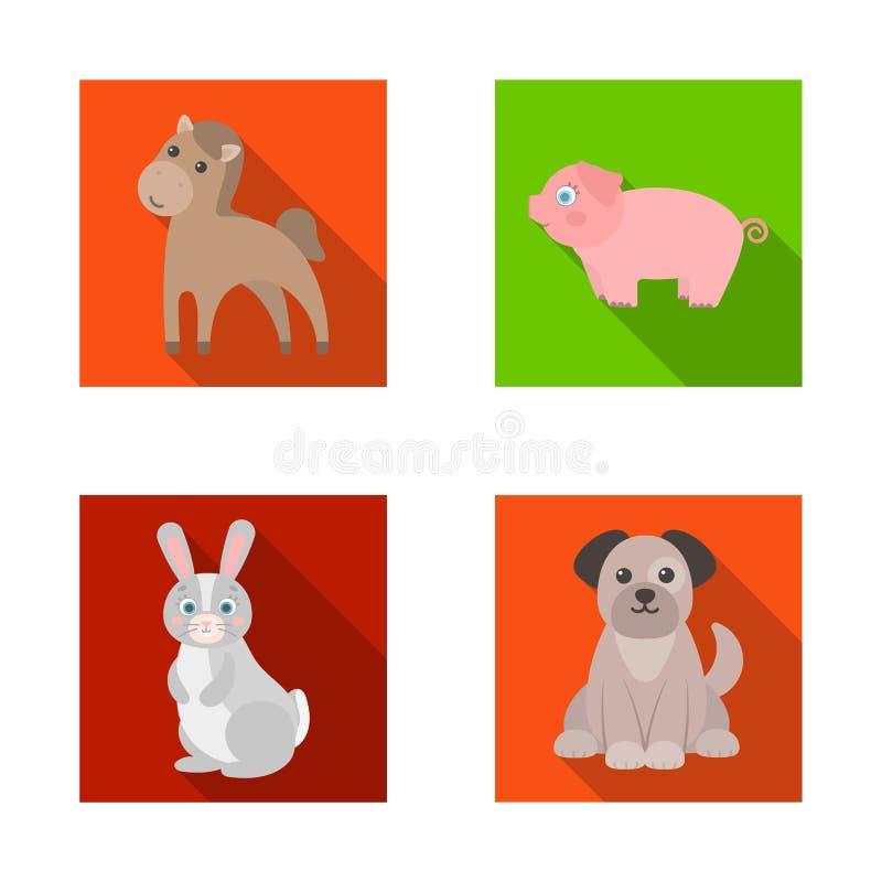 Diseño del vector de símbolo del animal y del hábitat Colección de símbolo común del animal y de granja para la web stock de ilustración