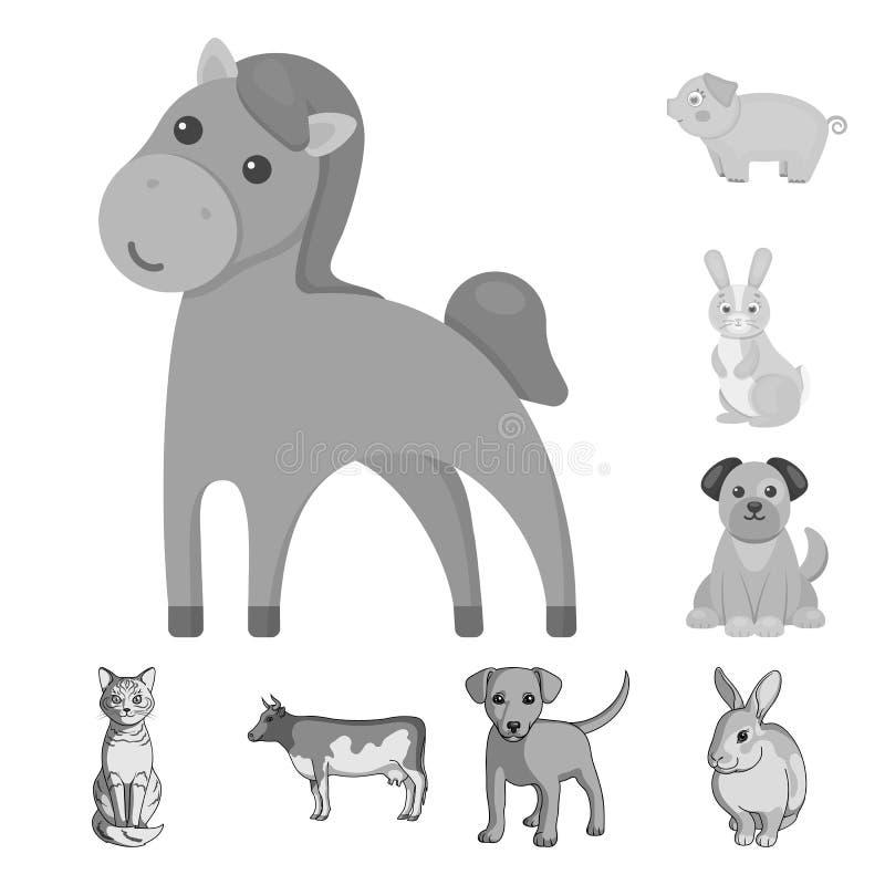 Diseño del vector de símbolo del animal y del hábitat Colección de símbolo común del animal y de granja para la web libre illustration