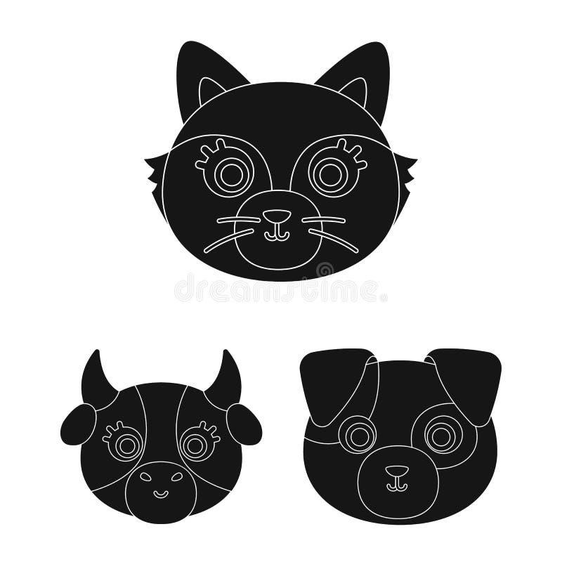 Diseño del vector de símbolo del animal y del hábitat Colección de icono del vector del animal y de la granja para la acción libre illustration