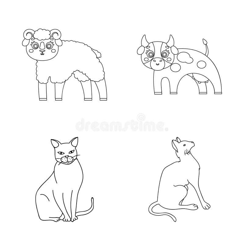 Diseño del vector de símbolo del animal y del hábitat Fije del icono del vector del animal y de la granja para la acción libre illustration