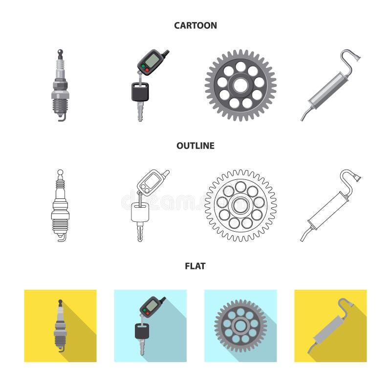 Diseño del vector de símbolo del auto y de la parte Colección de ejemplo común del vector del auto y del coche ilustración del vector