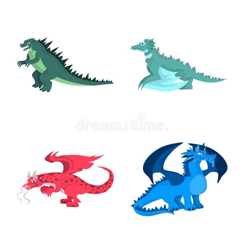 Diseño del vector de símbolo del criatura y animal Colección de criatura y de ejemplo común medieval del vector stock de ilustración