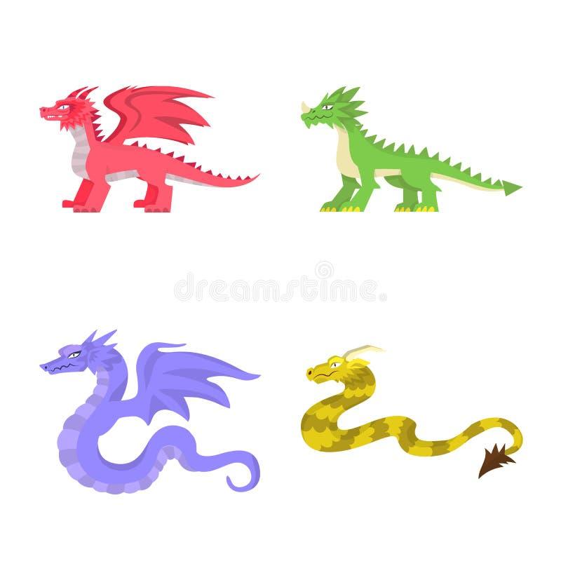 Diseño del vector de símbolo del criatura y animal Fije de criatura y del ejemplo común medieval del vector stock de ilustración