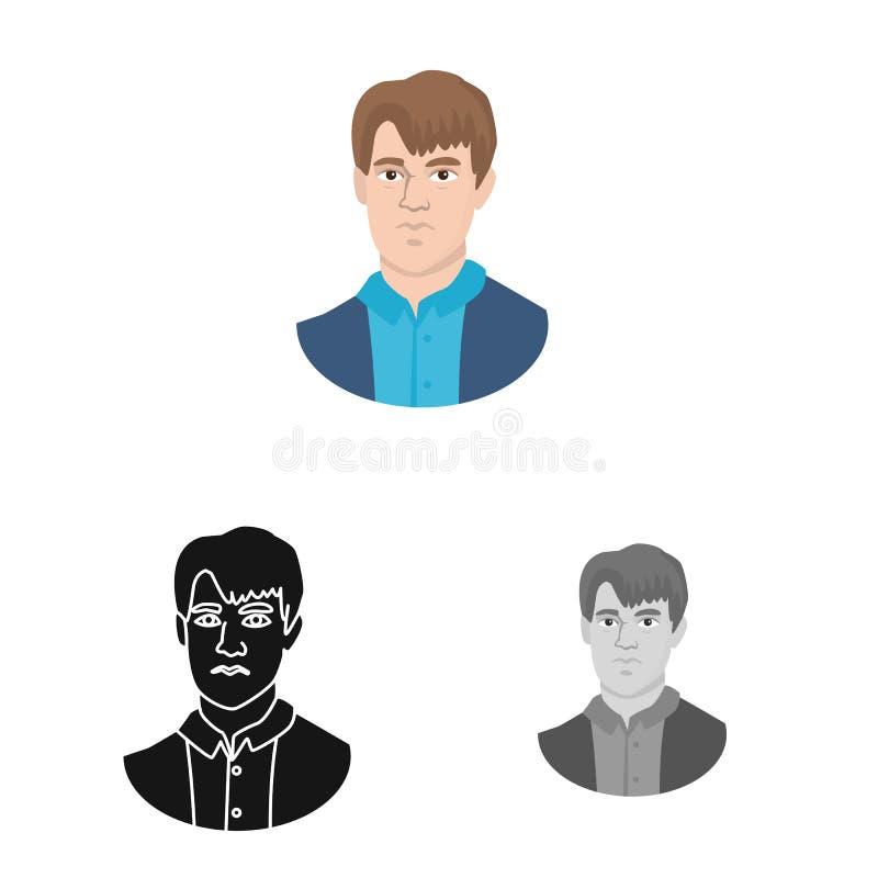 Diseño del vector de símbolo del hombre y de la cara Colección de hombre y de símbolo común joven para la web ilustración del vector