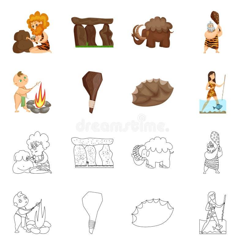 Diseño del vector de símbolo de la evolución y de la prehistoria Colección de símbolo común de la evolución y del desarrollo para stock de ilustración