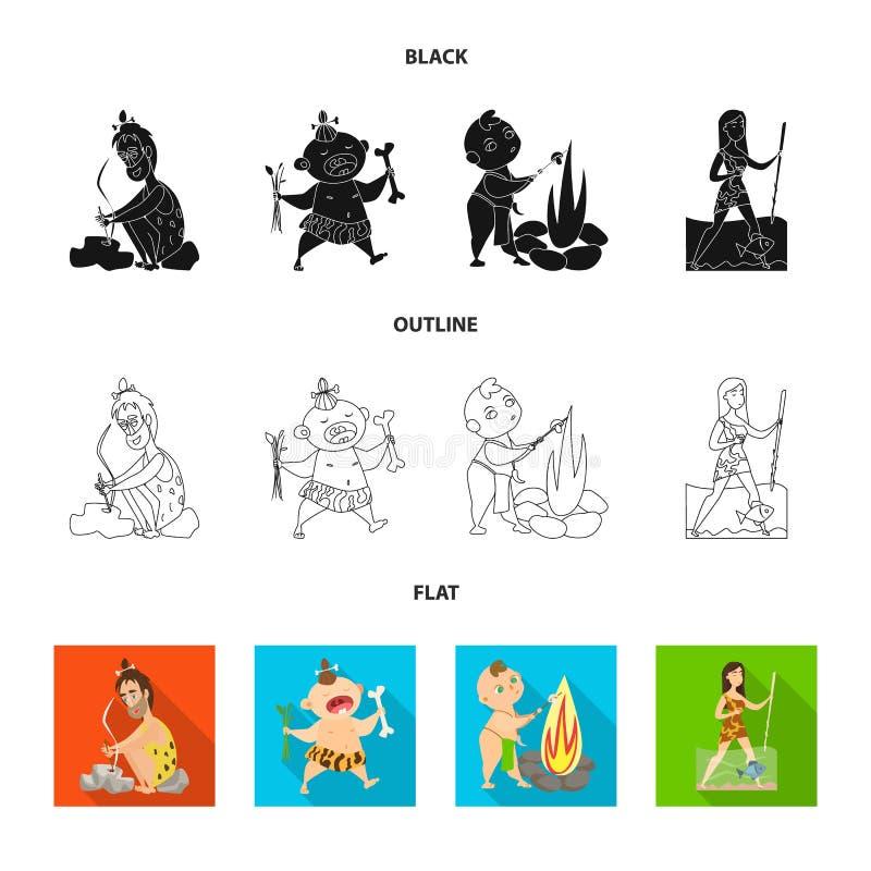 Diseño del vector de símbolo de la evolución y de la prehistoria Colección de icono del vector de la evolución y del desarrollo p libre illustration