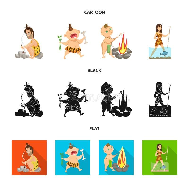 Diseño del vector de símbolo de la evolución y de la prehistoria Fije del icono del vector de la evolución y del desarrollo para  ilustración del vector