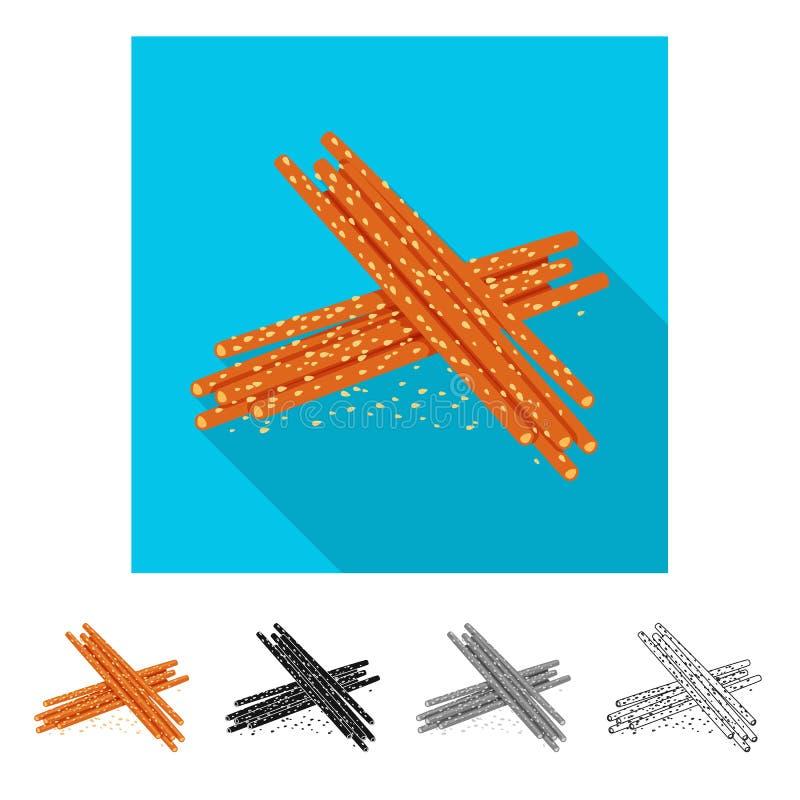 Diseño del vector de símbolo de la paja y del bocado Fije del símbolo común de la paja y del aperitivo para la web stock de ilustración
