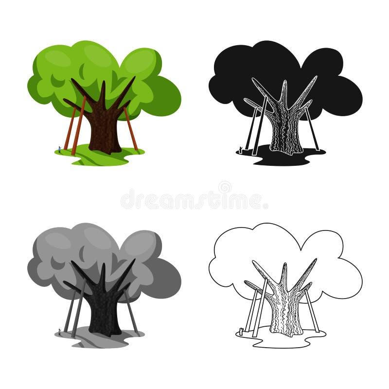 Diseño del vector de símbolo del roble y del árbol Colección de símbolo común del roble y del bosque para la web ilustración del vector