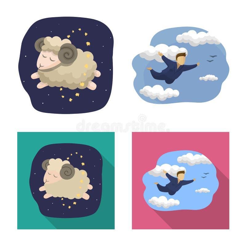 Diseño del vector de sueños y de muestra de la noche Colección de sueños y de ejemplo común del vector del dormitorio ilustración del vector