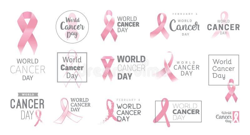 Diseño del vector del día del cáncer del mundo stock de ilustración