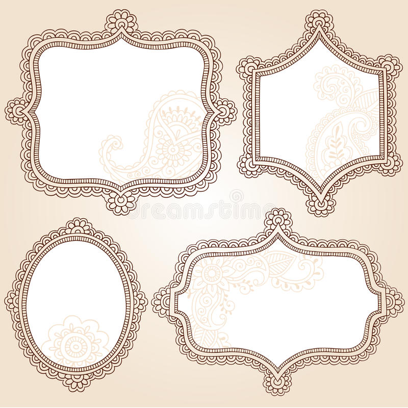 Diseño del vector del Doodle de los marcos de la flor del tatuaje de la alheña stock de ilustración