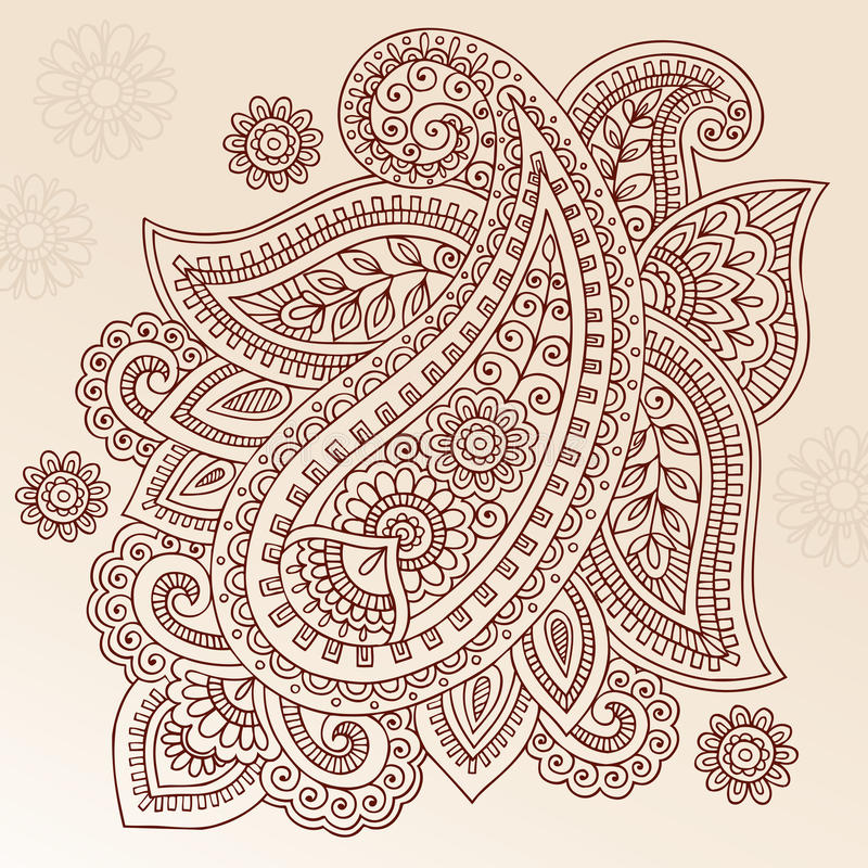 Diseño del vector del Doodle de Paisley de la flor del tatuaje de la alheña stock de ilustración