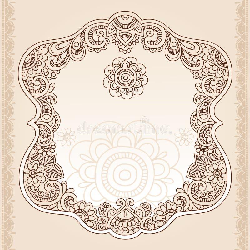 Diseño del vector del Doodle del marco de la flor del tatuaje de la alheña stock de ilustración
