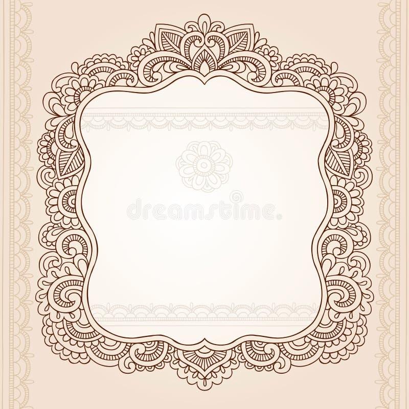 Diseño del vector del Doodle del marco de la flor del tatuaje de la alheña ilustración del vector