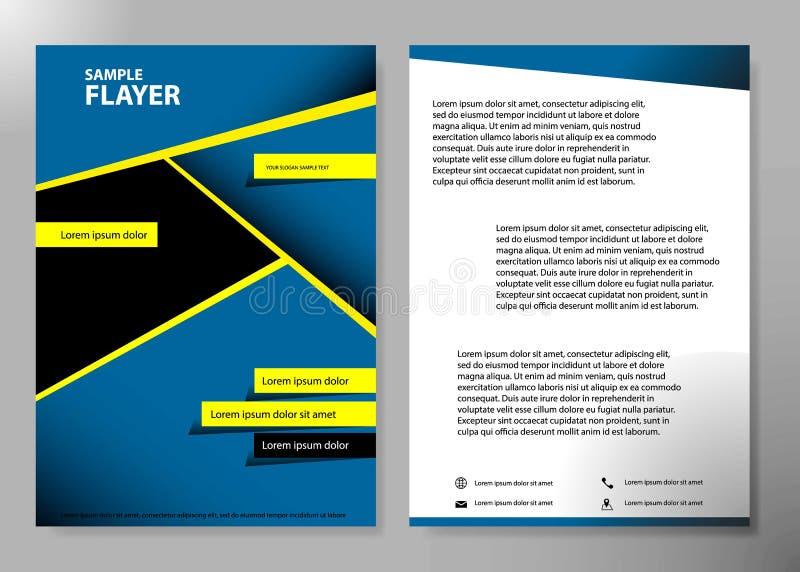 Diseño del vector del folleto del negocio de la cubierta del aviador, prospecto que hace publicidad del fondo abstracto, disposic stock de ilustración