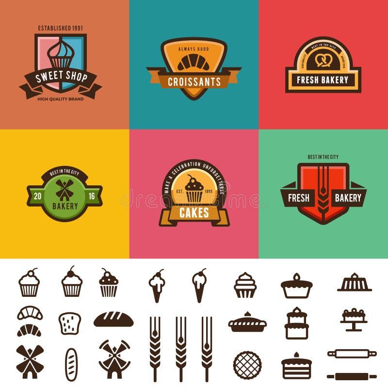 Diseño del vector del logotipo de las etiquetas del vintage de la tienda de la panadería lata stock de ilustración