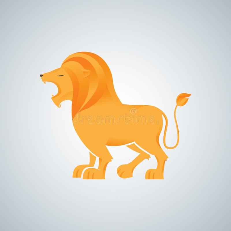 Diseño del vector del logotipo del rugido del rey del león ilustración del vector