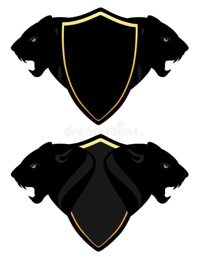 Diseño del vector del escudo de armas de la pantera libre illustration